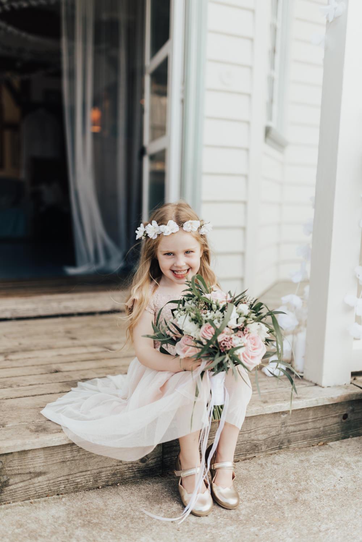 Flower Girl Flower Crown Floral Rose Halo Pink Dress Beacon House Wedding Elopement Rebecca Carpenter Photography