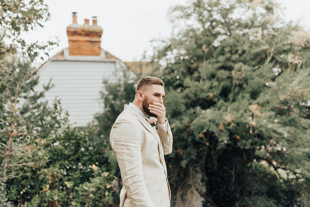 Groom Suit Pale Sand Linen Tweed Tie Pink Rose Buttonhole Loafers First Look Beacon House Wedding Elopement Rebecca Carpenter Photography