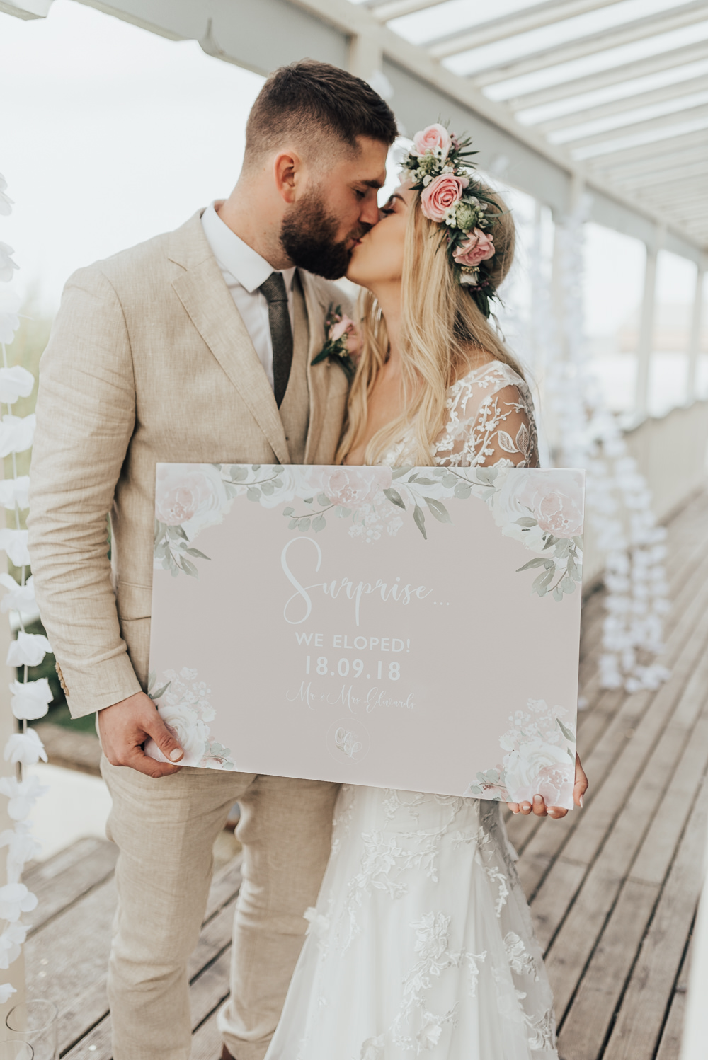 Pretty Floral Stationery Sign Signage We Eloped Announcement Beacon House Wedding Elopement Rebecca Carpenter Photography