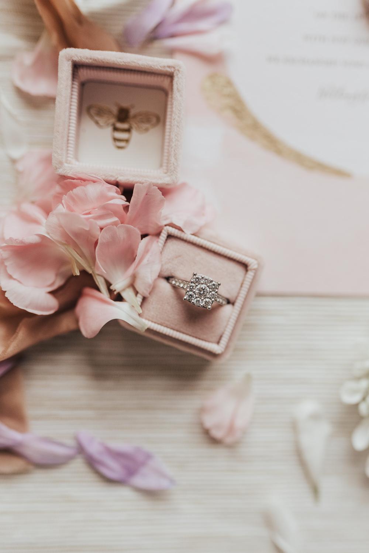 Velvet Ring Box Pink Engagement Band Beacon House Wedding Elopement Rebecca Carpenter Photography