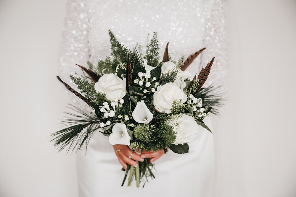 White Rose Bouquet Pheasant Feather Greenery Big Barn Wedding Ashley The Vedrines Photography