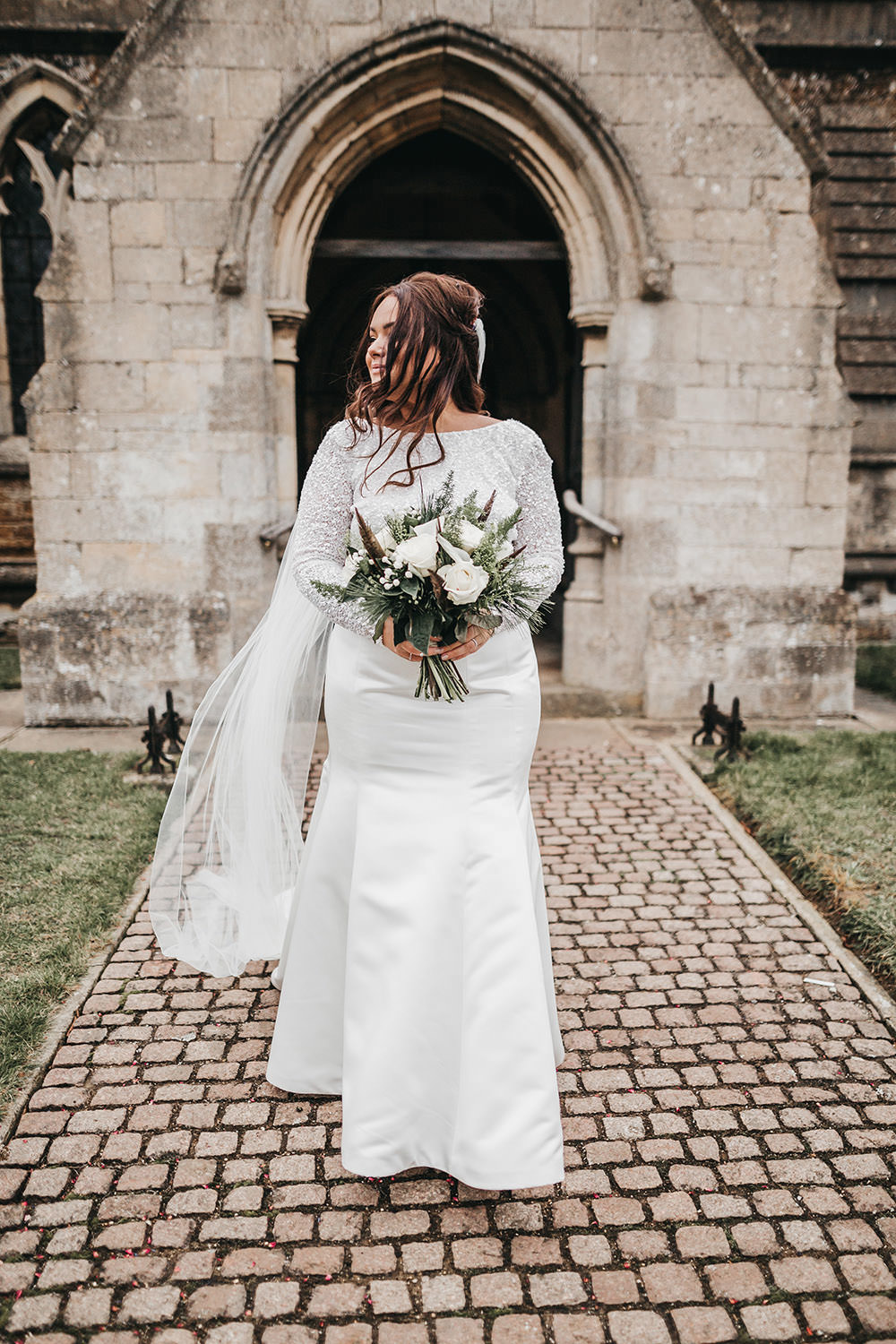 Bride Bridal Separates Sparkly Long Sleeve Fish Tail Button Back Veil Big Barn Wedding Ashley The Vedrines Photography
