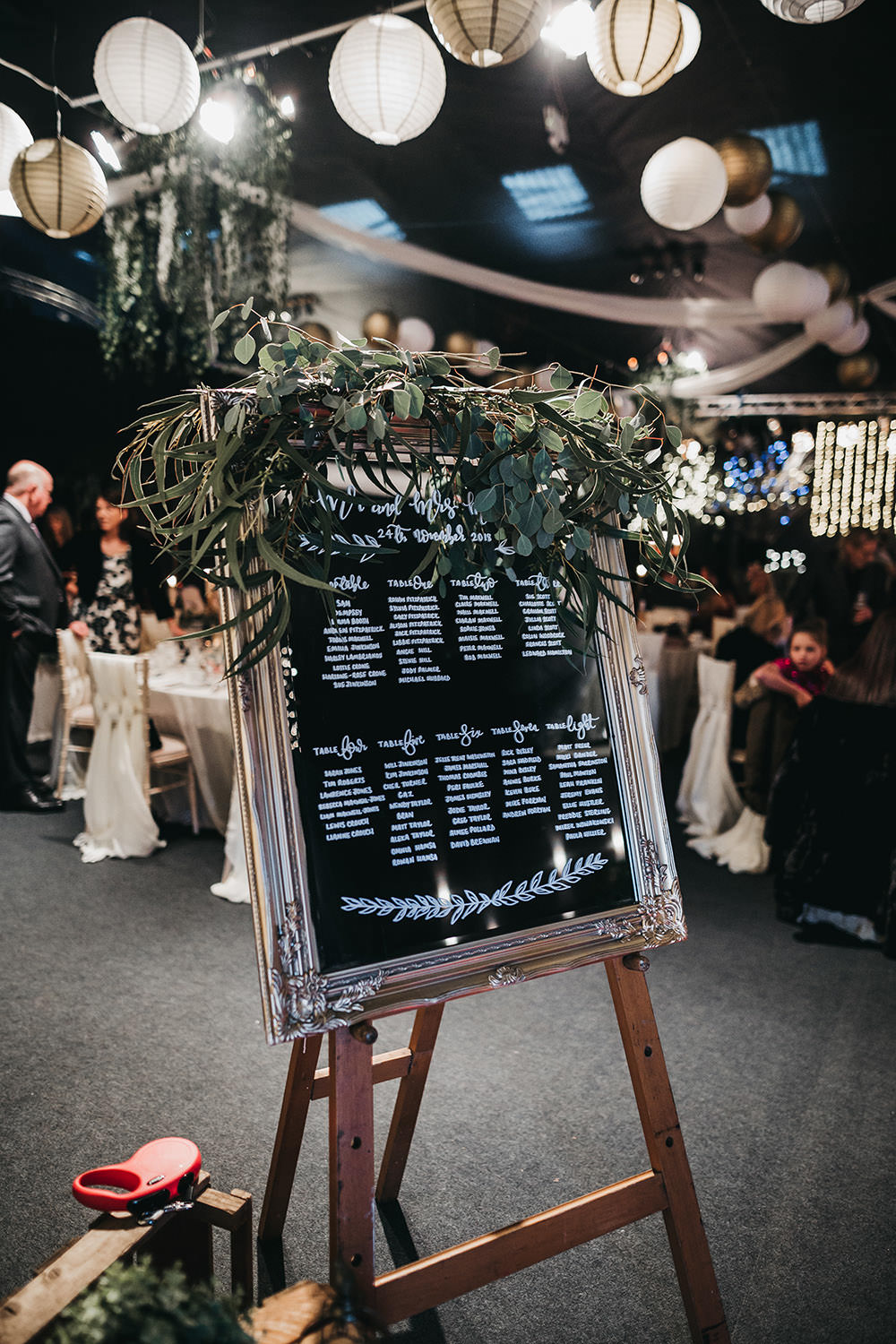 Mirror Table Plan Gold Frame Greenery Big Barn Wedding Ashley The Vedrines Photography