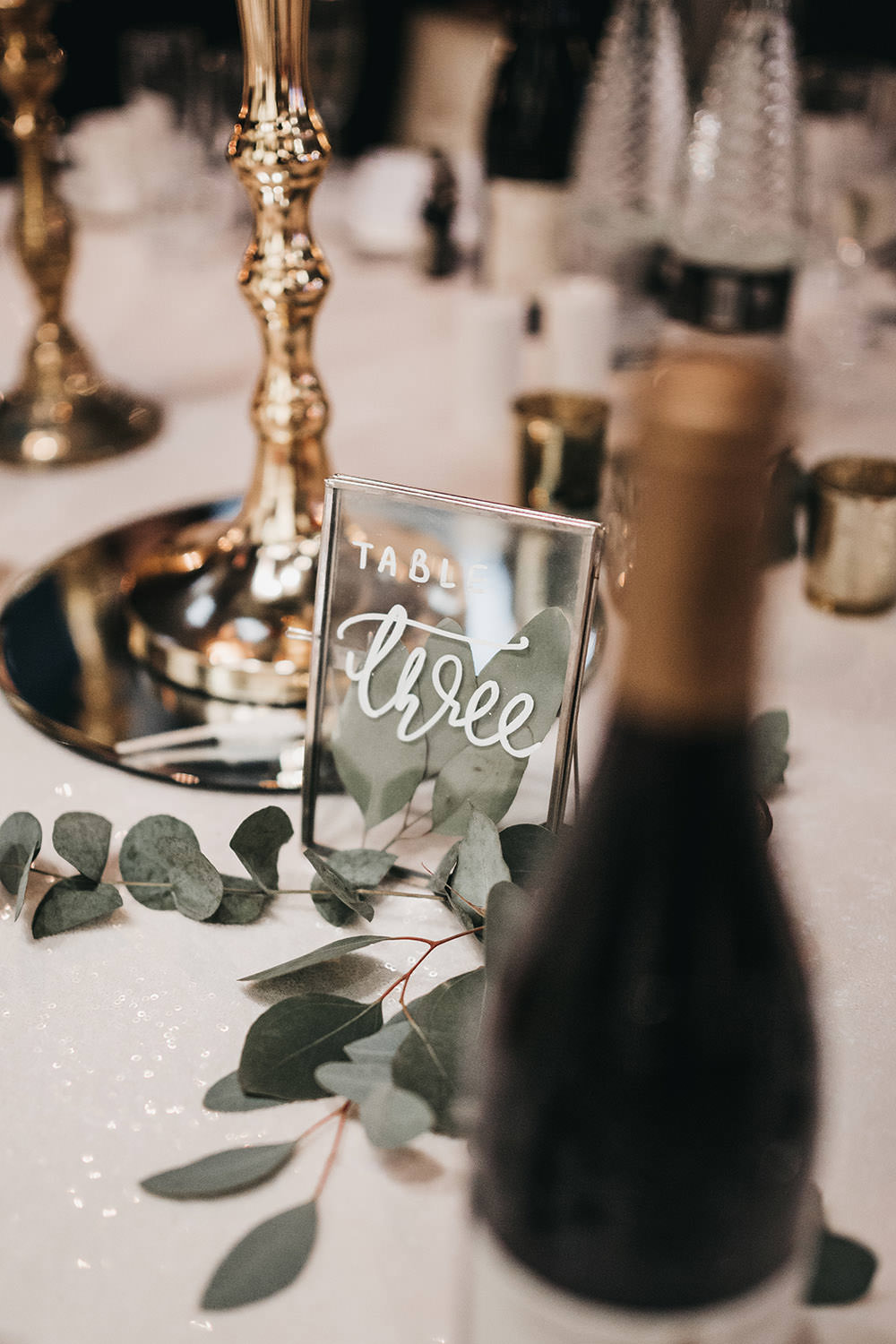 Table Number Frame Calligraphy Glass Eucalyptus Big Barn Wedding Ashley The Vedrines Photography