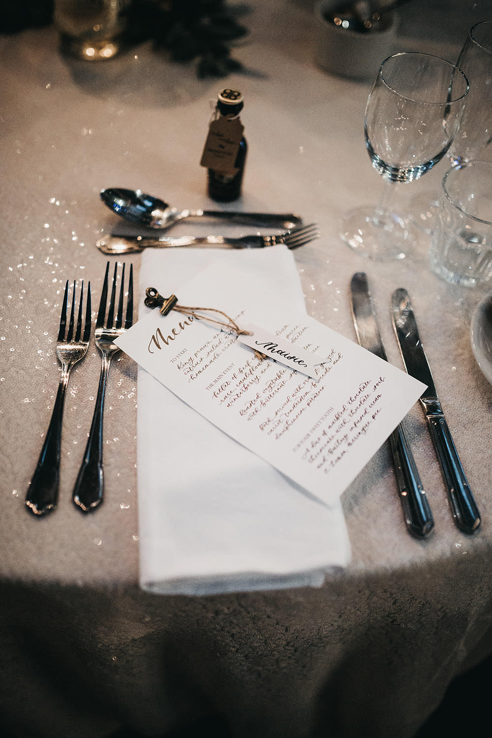 Menu Tag Name Place Table Setting Big Barn Wedding Ashley The Vedrines Photography
