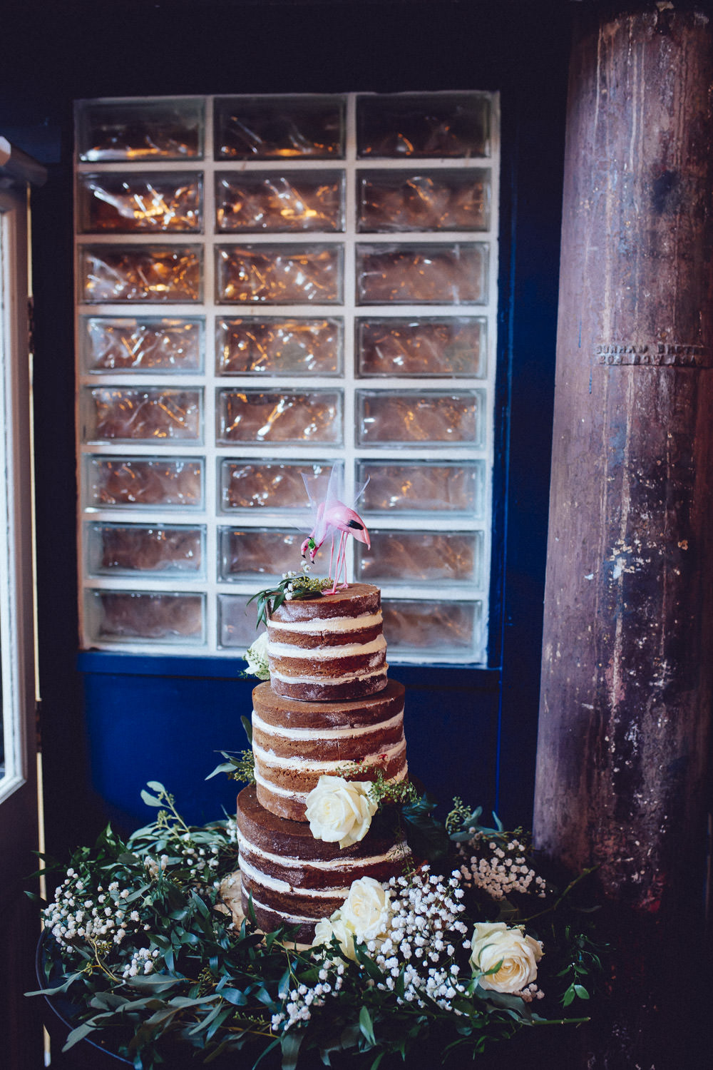 Naked Cake Layer Sponge Flamingos Greenery Flowers Clapton Country Club Wedding Curious Rose Photography