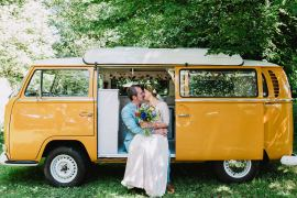 VW Yellow Camper Van Mustard Eco Friendly Wedding The Stag and the Doe