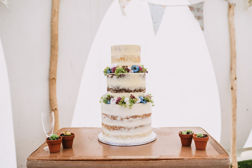 Semi Naked Cake Flowers Floral Eco Friendly Wedding The Stag and the Doe