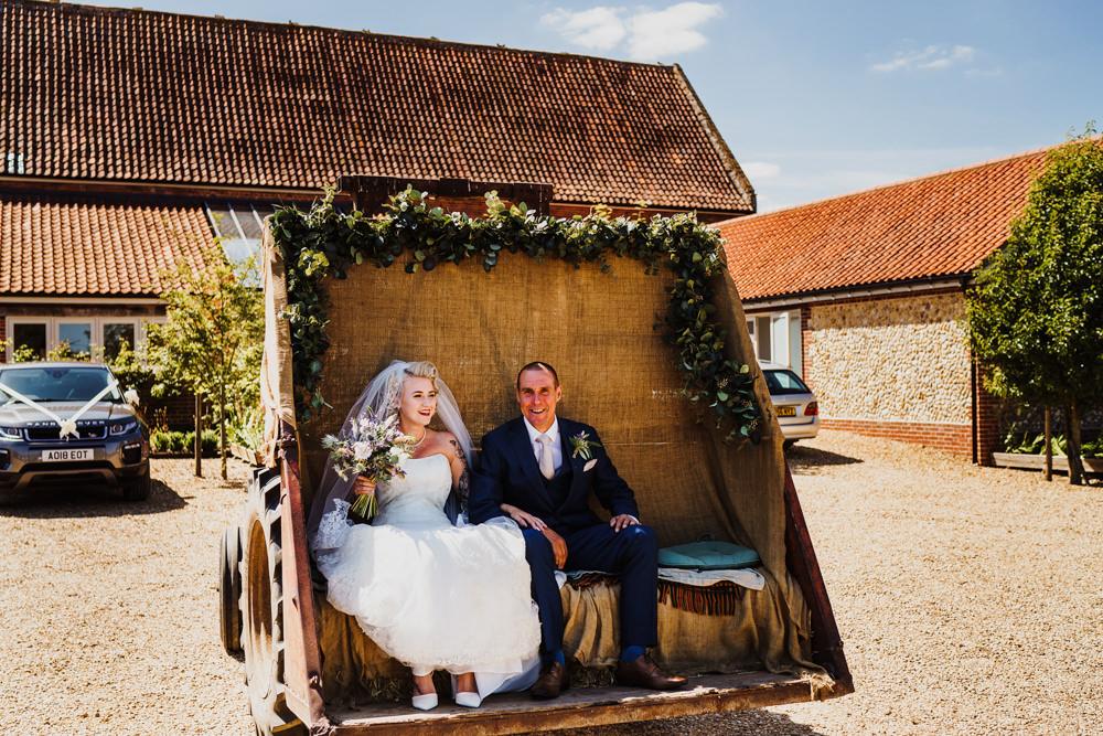 Tractor Trailer Transport Flowers Godwick Hall Wedding Rob Dodsworth Photography