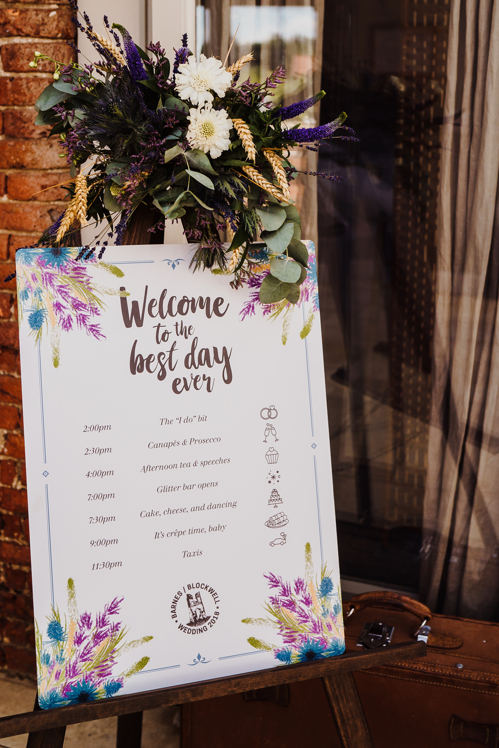 Welcome Sign Stationery Floral Illustrated Flowers Greenery Calligraphy Easel Godwick Hall Wedding Rob Dodsworth Photography