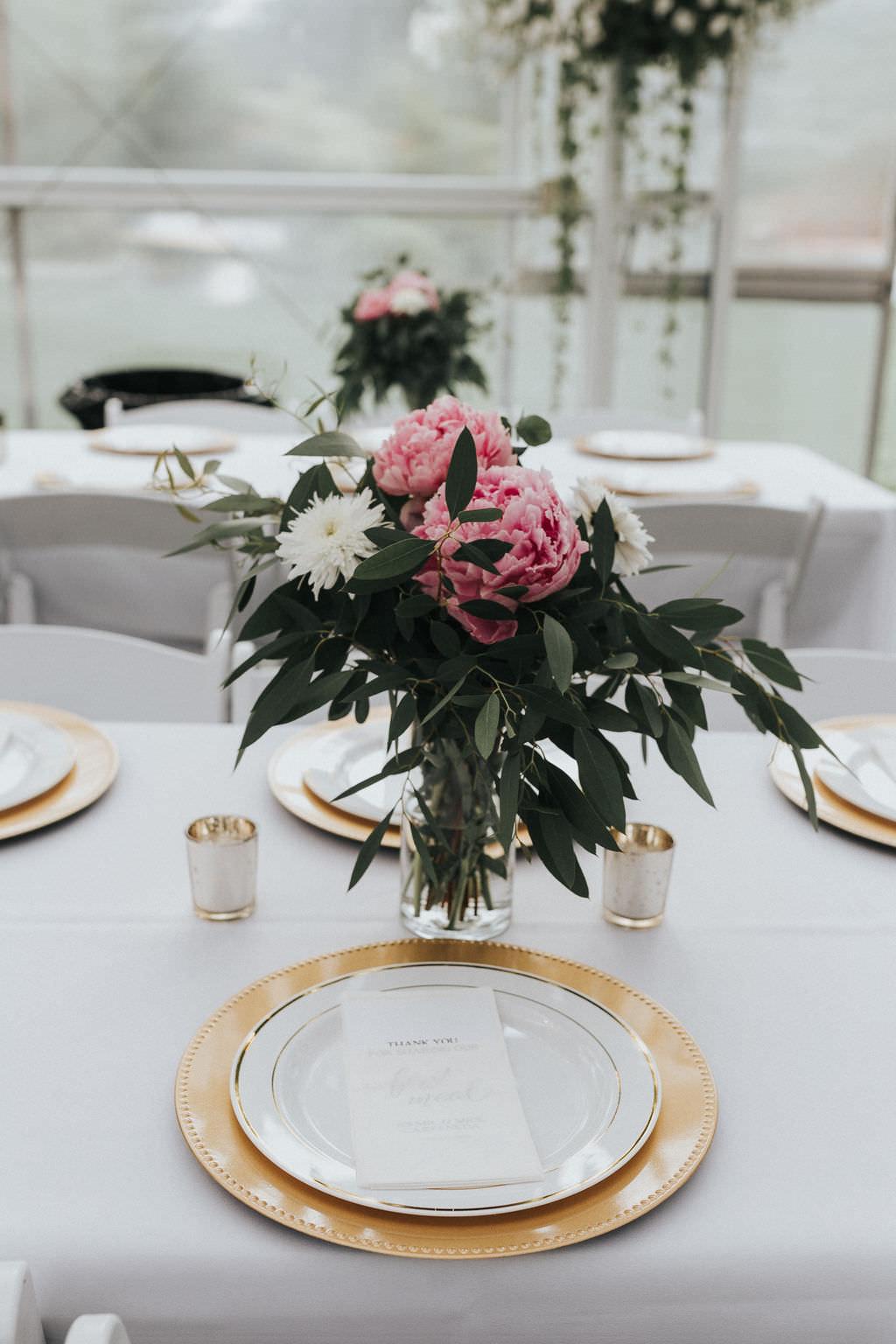 Table Flowers Vase Pink Peony Peonies Greenhouse Garden Washington Wedding Beginning and End Photography