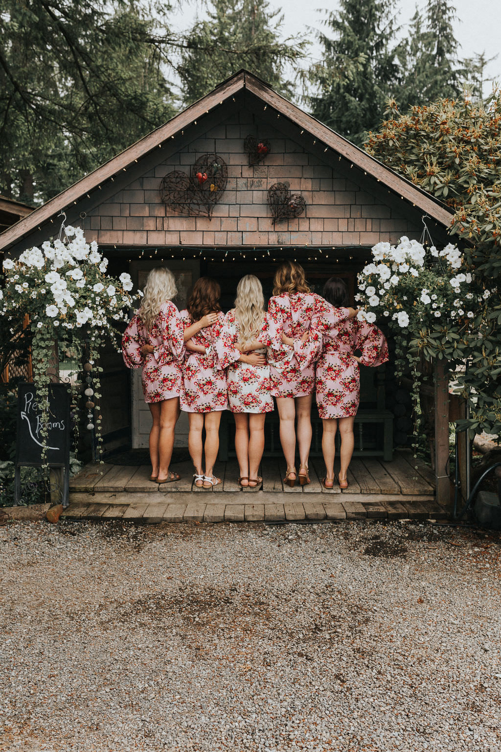 Bridesmaids Bride Dressing Gown Robes Floral Greenhouse Garden Washington Wedding Beginning and End Photography