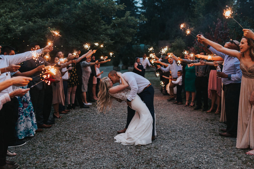 Sparklers Evening Send Off Exit Greenhouse Garden Washington Wedding Beginning and End Photography