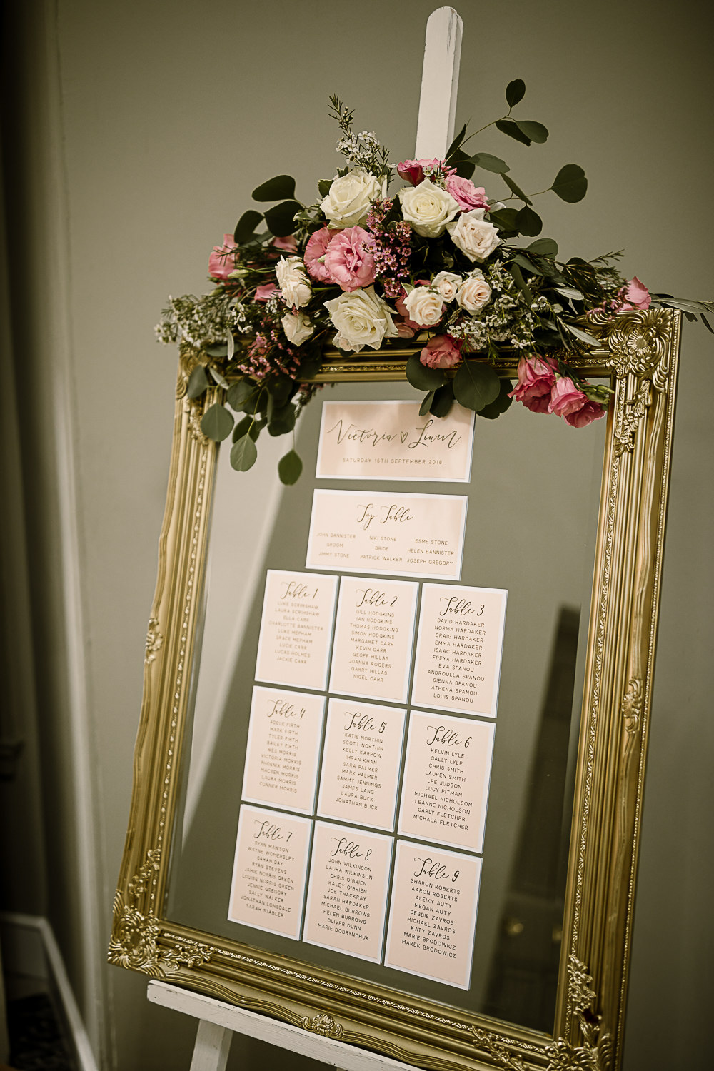Gold Frame Mirror Table Plan Seating Chart Floral Flowers Garland Lartington Hall Wedding Hayley Baxter Photography