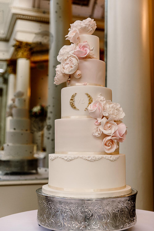 Monogram Icing Flowers Five Tier Peony Lartington Hall Wedding Hayley Baxter Photography