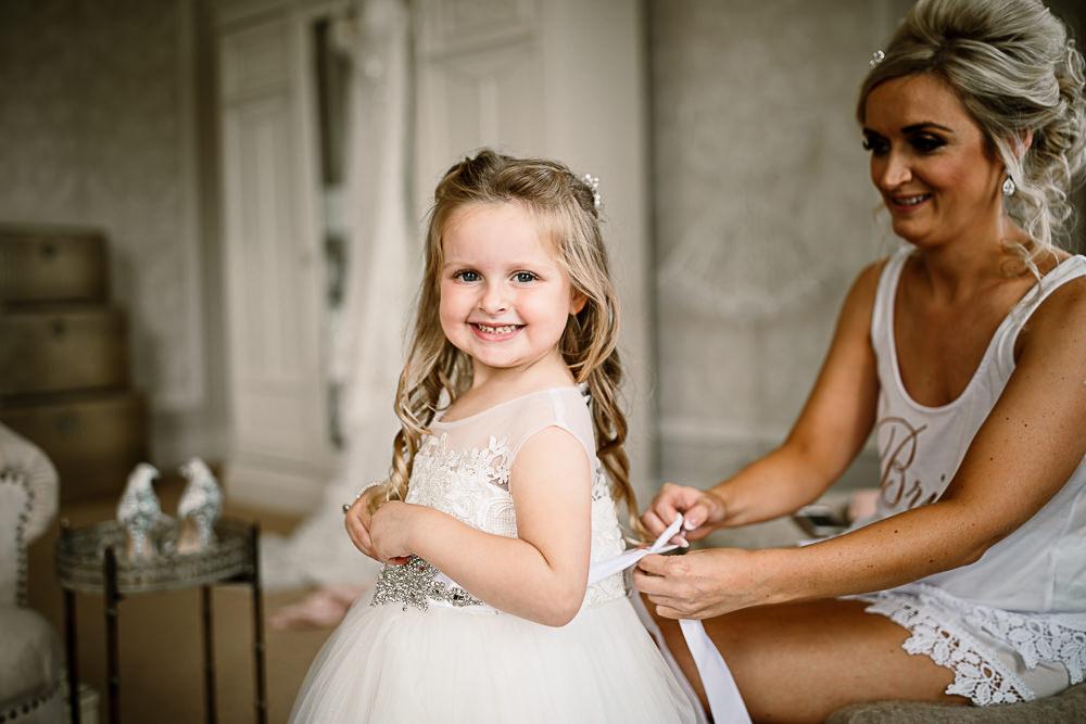 Flower Girl Embellished Belt Train Tulle Lartington Hall Wedding Hayley Baxter Photography
