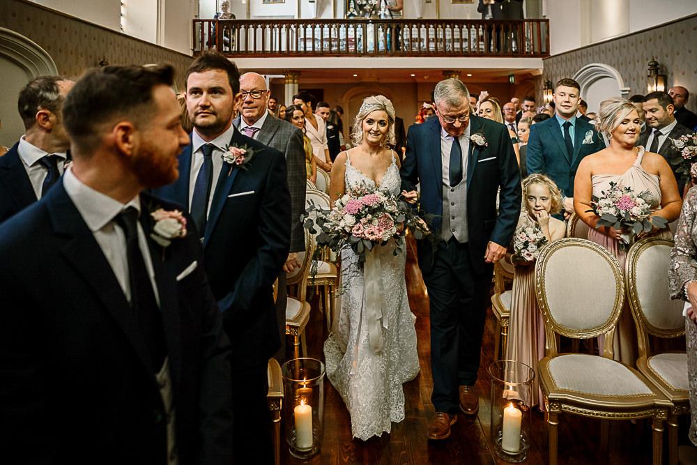 Bride Bridal Dress Gown Spaghetti Strap Lace Train Veil Hair Piece Navy Suit Groom Pink White Large Eucalyptus Bouquet Lartington Hall Wedding Hayley Baxter Photography