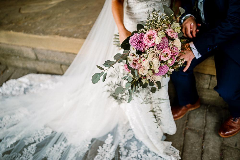 Bride Bridal Pink Eucalyptus Bouquet Lartington Hall Wedding Hayley Baxter Photography