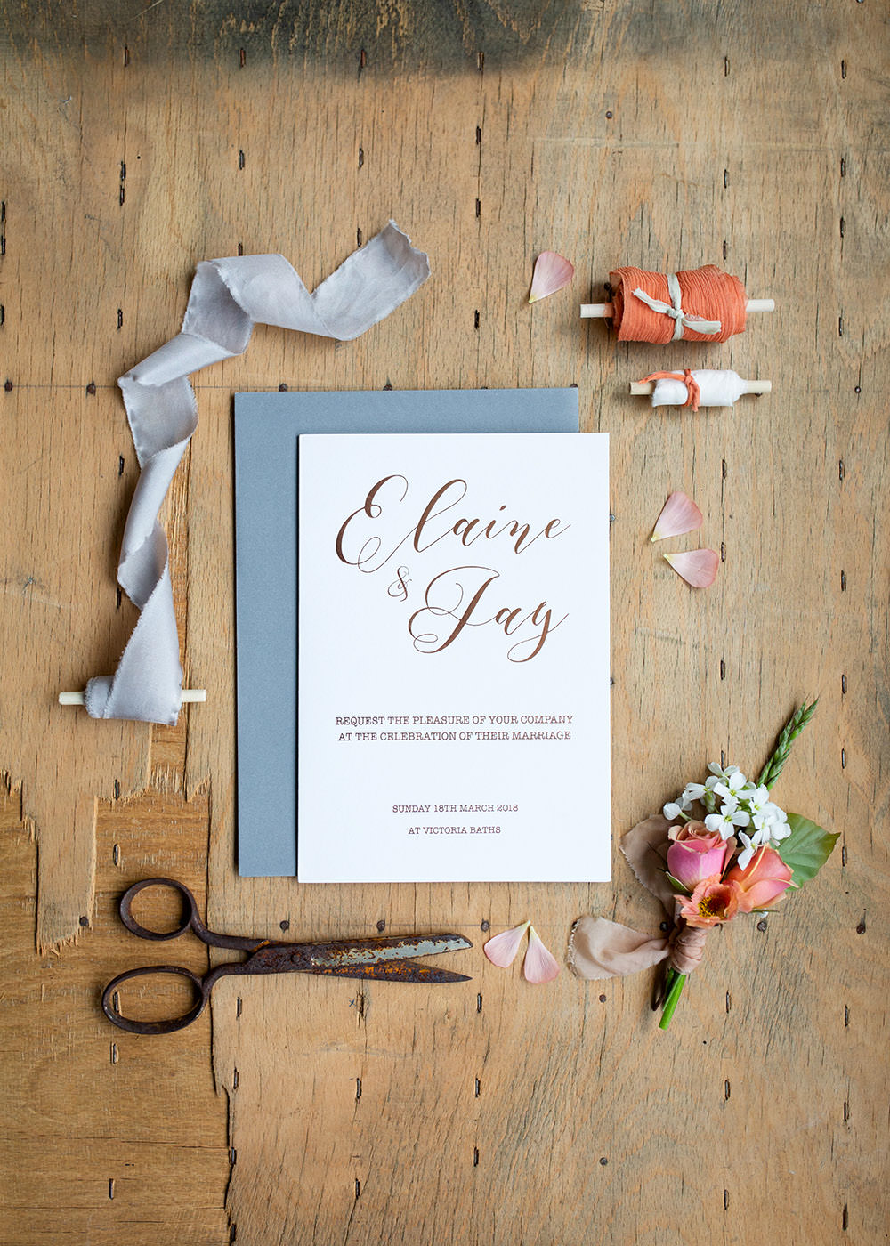 Stationery Suite Invite Invitations Flat Lay Calligraphy Letterpress Blue Grey Light Airy Summer Wedding Ideas Charlotte Palazzo Photography