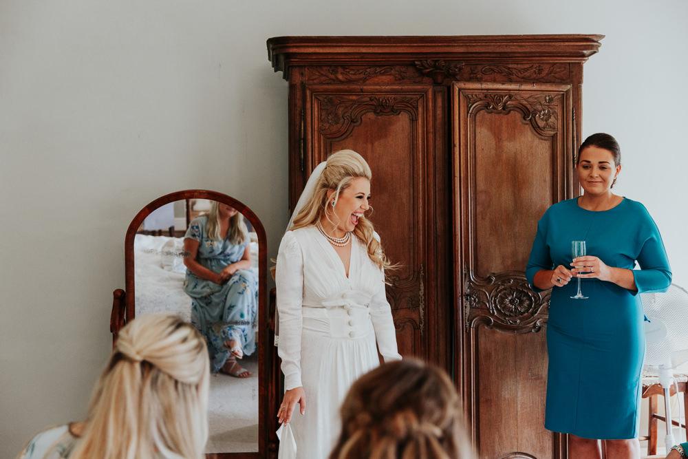 Dress Gown Bride Bridal 1940s Vintage Satin Long Sleeves Veil Pennard House Wedding Oxi Photography