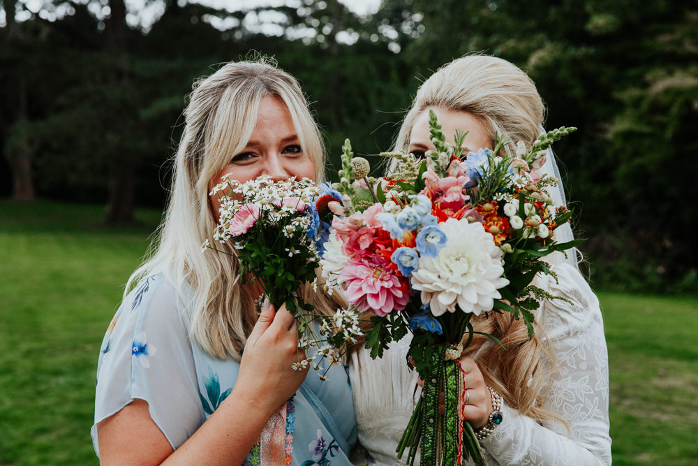 Bouquet Flowers Bride Bridal Colourful Ribbons Retro Vintage Dahlias Snap Dragons Crespedia Pennard House Wedding Oxi Photography