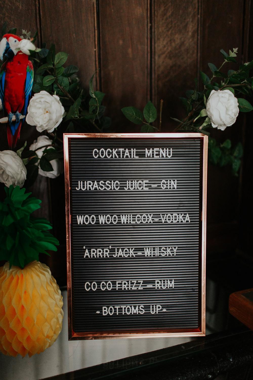 Peg Board Sign Bar Menu Cocktails Pennard House Wedding Oxi Photography