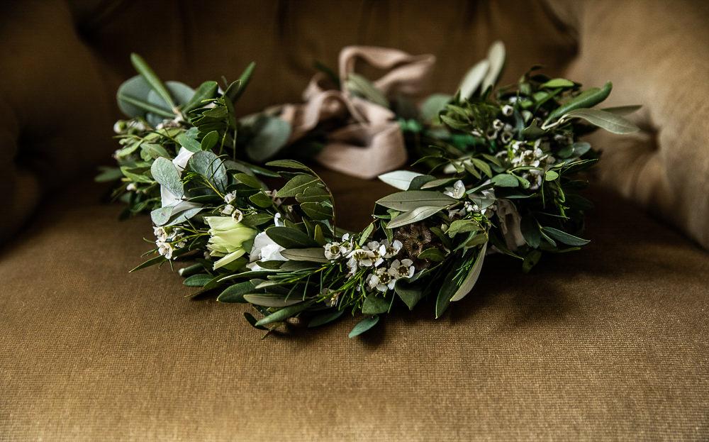 Flower Crown Greenery Foliage Rustic Botanical Barn Wedding Lorna Newman Photography