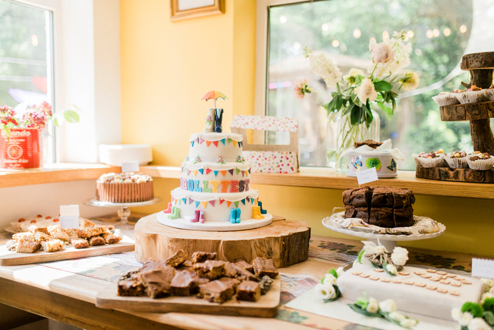Bunting Tiered Cake Dessert Table Spring Cottage Rivington Wedding Emma B Photography