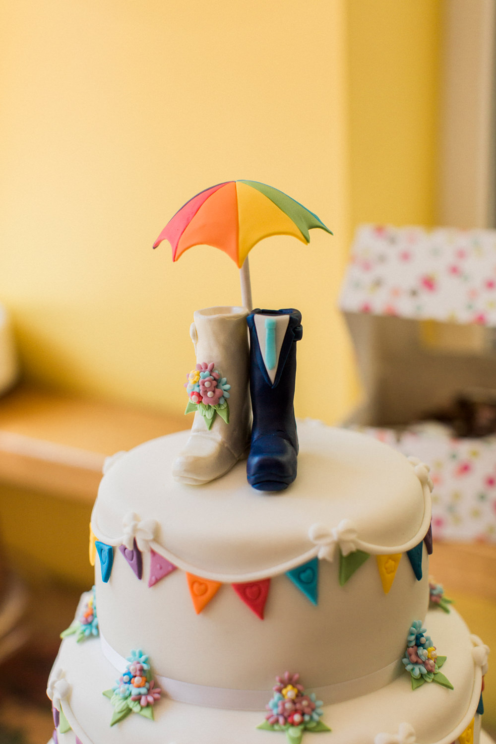Bunting Tiered Cake Welly Umbrella Topper Spring Cottage Rivington Wedding Emma B Photography