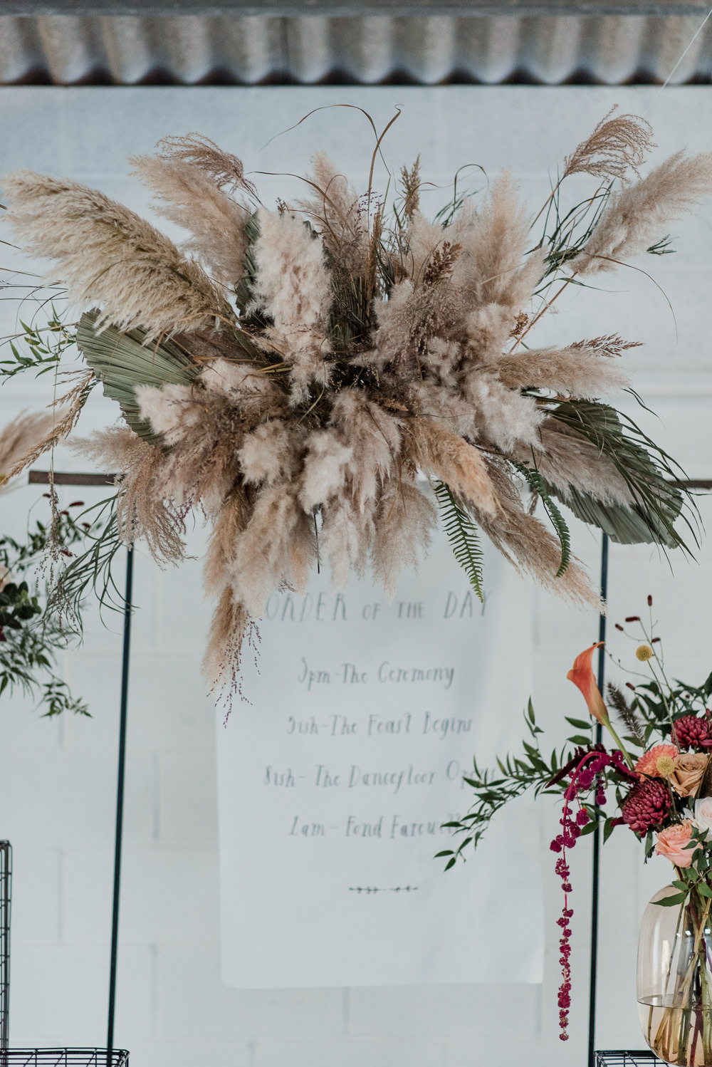 Backdrop Ceremony Aisle Wire Flowers Pampas Grass Decor Cloud Installation Floral 1970 Retro Mid Century Wedding Ideas Laura Martha Photography