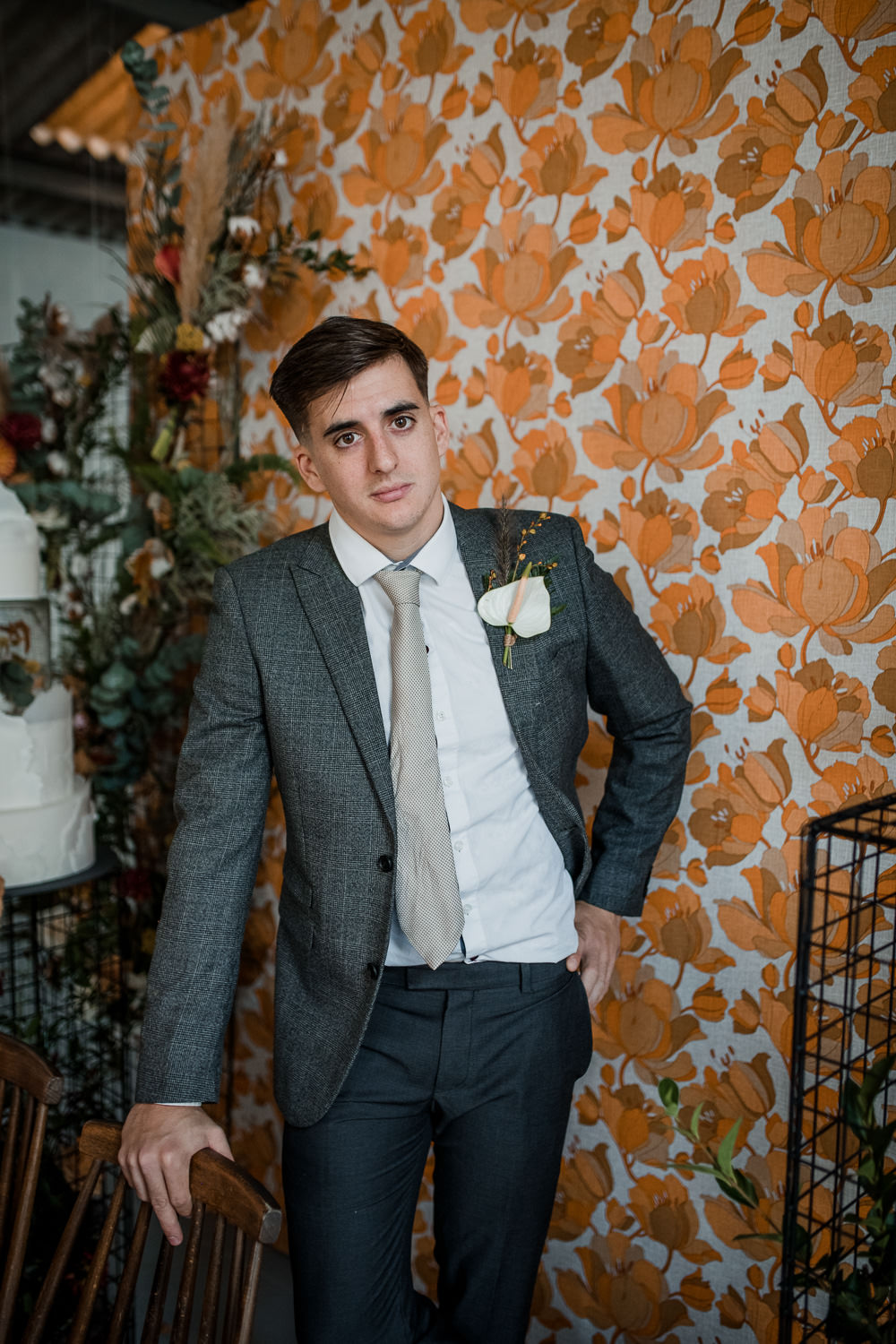 Groom Suit Grey Tie Calla Lily Buttonhole 1970 Retro Mid Century Wedding Ideas Laura Martha Photography