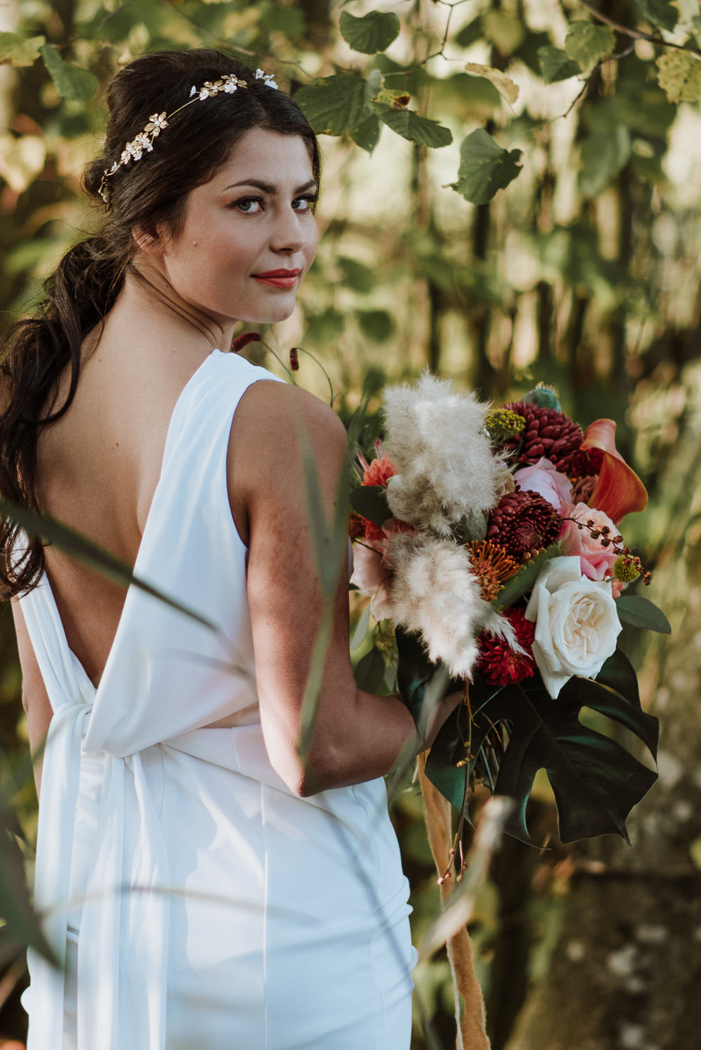Dress Gown Bride Bridal Low Back Knot 1970 Retro Mid Century Wedding Ideas Laura Martha Photography