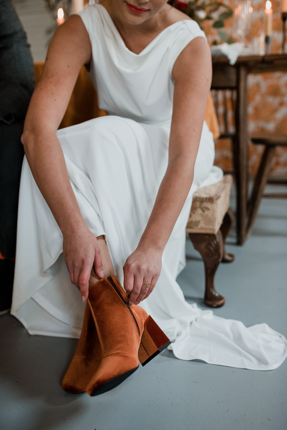 Tan Orange Boots Bride Bridal Shoes 1970 Retro Mid Century Wedding Ideas Laura Martha Photography