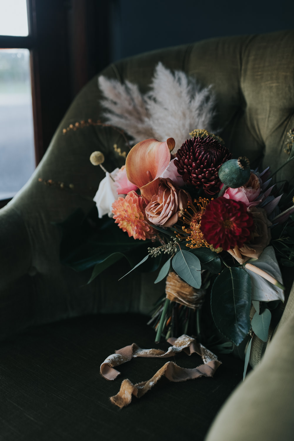 Bouquet Flowers Bride Bridal Mustard Tan Orange Burgundy Calla Lily Pampas Grass Dahlia Chrysanthemum 1970 Retro Mid Century Wedding Ideas Laura Martha Photography