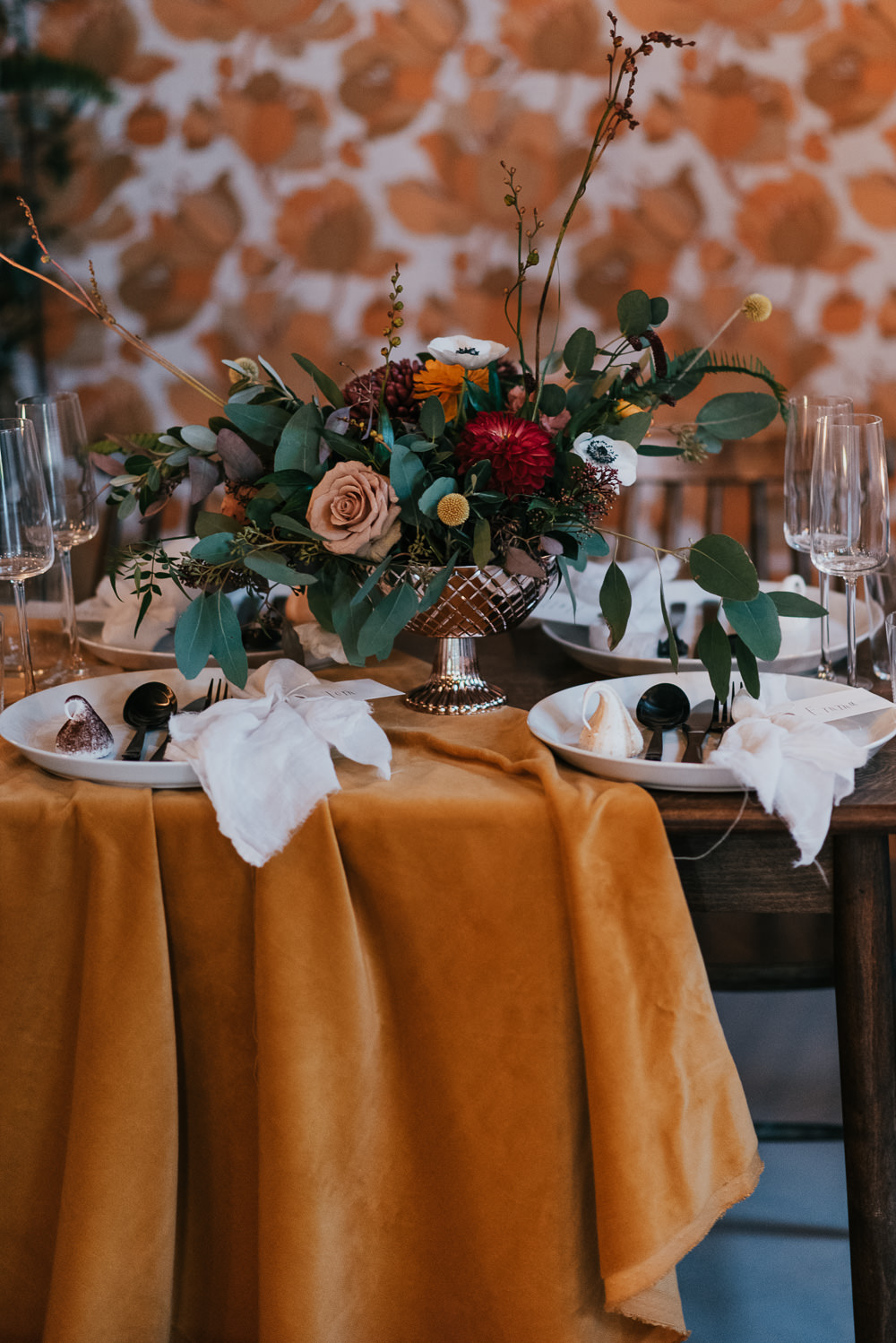 Tablescape Table Decor Backdrop Wallpaper Mustard Orange Floral Flowers Decor Velvet Cloth Runner Candles 1970 Retro Mid Century Wedding Ideas Laura Martha Photography