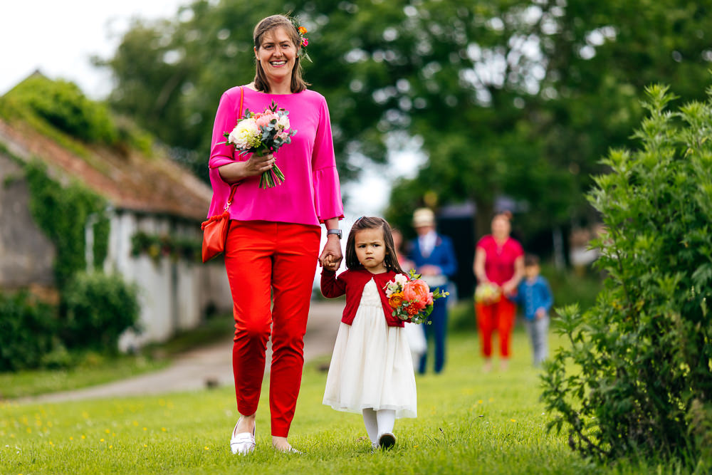 Bridesmaids Outfits Red Orange Trousers Ash Barton Estate Wedding Jordanna Marston Photography