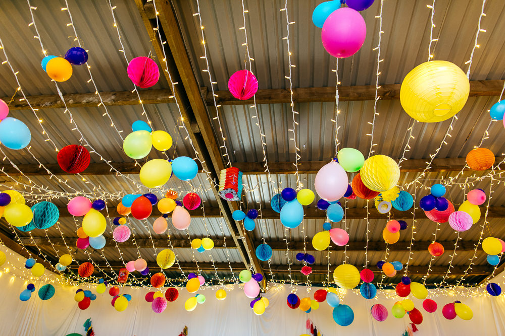 Rainbow Colourful Pom Poms Fairy Lights Lanterns Ash Barton Estate Wedding Jordanna Marston Photography