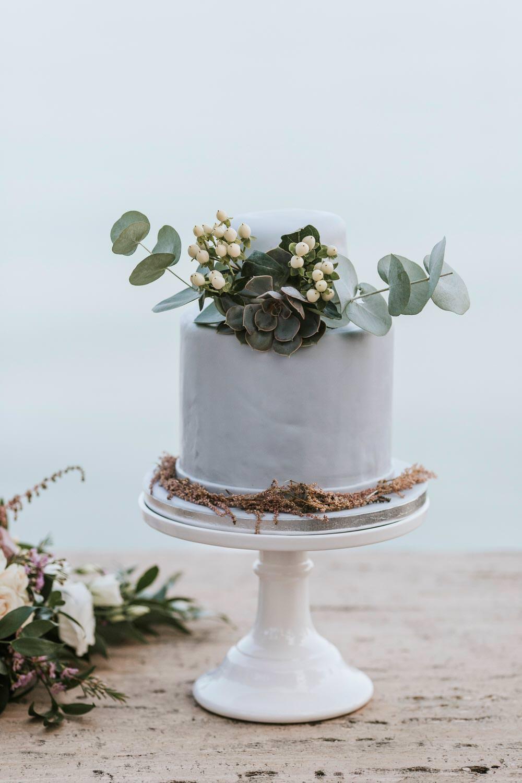 Cake Greenery Foliage Grey Flowers Succulent Stand Bohemian Beach Greece Destination Wedding Lighthouse Photography