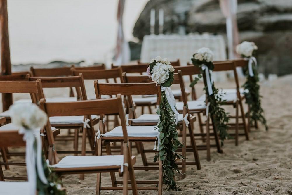 Aisle Ceremony Chair Flowers Bohemian Beach Greece Destination Wedding Lighthouse Photography