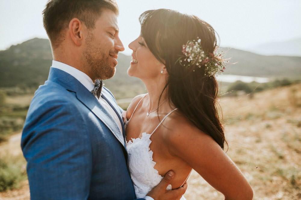 Bride Bridal Hair Flowers Loose Waves Half Up Down Bohemian Beach Greece Destination Wedding Lighthouse Photography