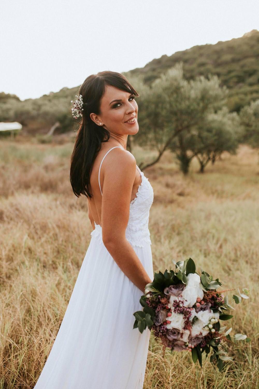 Dress Gown Bride Bridal Grace Loves Lace Tara Straps Train Bohemian Beach Greece Destination Wedding Lighthouse Photography
