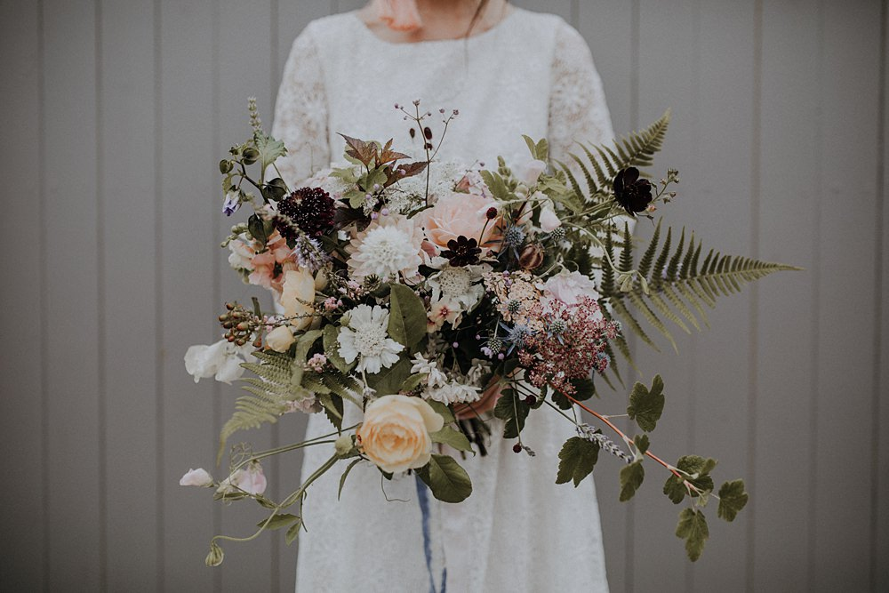 Bouquet Flowers Bride Bridal Wild Natural Whimsical Ribbons Foliage Greenery Hydrangea Berry Sweetpeas Ferns Rose Dahlia Bohemian Woodland Wedding Ideas Lola Rose Photography