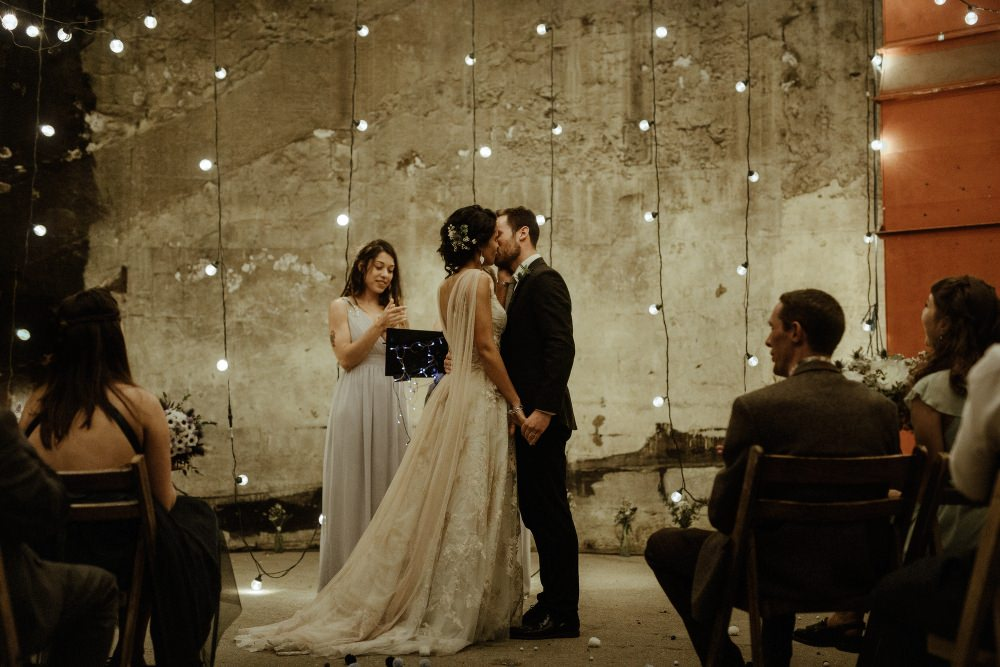 Festoon Lights Lighting Backdrop Ceremony Brunel Museum Wedding Olivia and Dan Photography