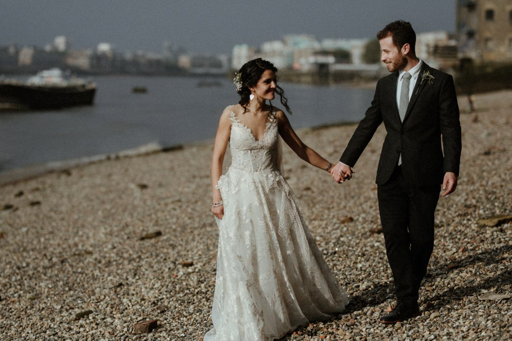 Bride Bridal Dress Gown Illusion Lace Cape Veil Gemy Maalouf Brunel Museum Wedding Olivia and Dan Photography