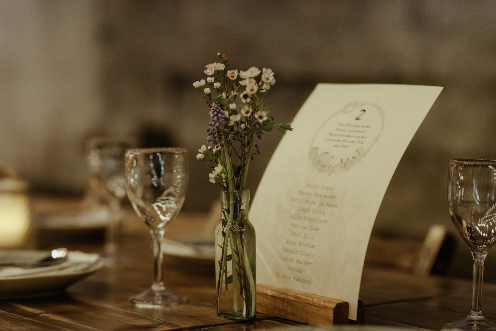 Flowers Bottles Decor Table Brunel Museum Wedding Olivia and Dan Photography