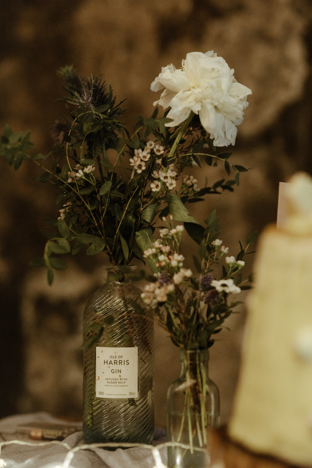 Bottles Flowers Table Decor Brunel Museum Wedding Olivia and Dan Photography