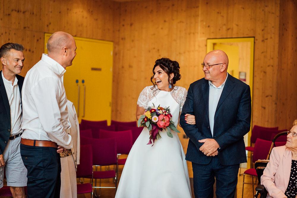 Bride Bridal Embellished Shoulder High Low Dress Gown Colourful Tipi Garden Wedding Fairclough Studios