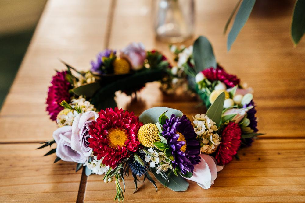 Bride Bridal Flower Floral Crown Colourful Tipi Garden Wedding Fairclough Studios