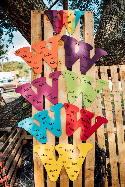 Table Plan Pallet Seating Chart Colourful Tipi Garden Wedding Fairclough Studios