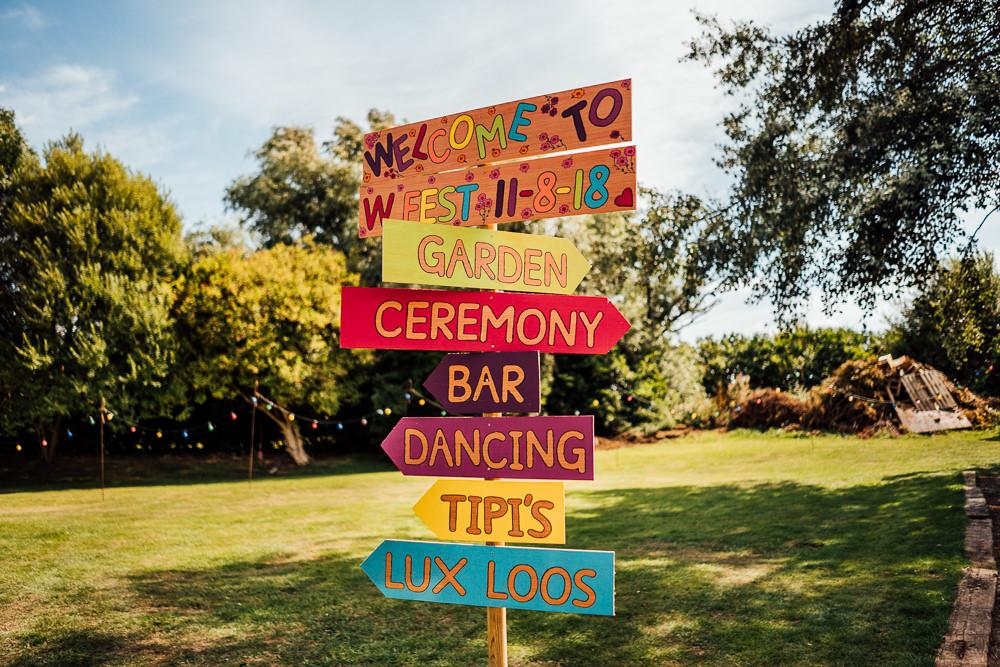Hand Painted Sign Signpost Direction Multicolour Colourful Tipi Garden Wedding Fairclough Studios